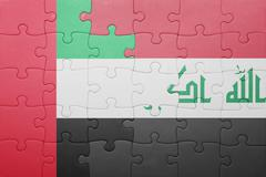 Stock Photo of puzzle with the national flag of iraq and united arab emirates