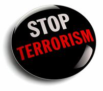 Stop Terror Campaign Badge - stock illustration