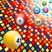 Bingo balls on coloured 3D mosaic background - stock illustration