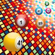 Bingo balls on coloured 3D mosaic background Stock Illustration