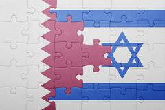 puzzle with the national flag of israel and qatar - stock photo