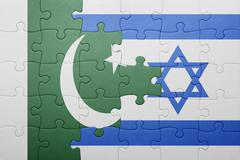 Puzzle with the national flag of israel and pakistan Stock Photos
