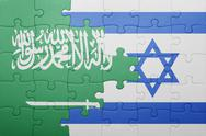 Stock Photo of puzzle with the national flag of israel and saudi arabia