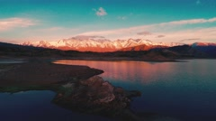 Los andes chile argentina with lake - stock footage
