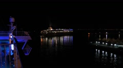 A ferry boat by night Stock Footage