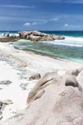 A crab on a granite rock at Anse Aux Cedres, La Digue, Seychelles Stock Photos