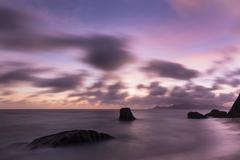 Colorful sunset long exposure at Anse Source D'Argent in La Digue, Seychelles Stock Photos