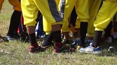 Various shoes worn during baseball training Stock Footage