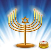 Menorah and Red Jelly Donat - stock illustration