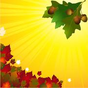 Autumn background with leafs and acorn Stock Illustration