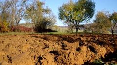 Plowed land trees and blue sky Stock Footage