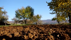 Plowed land before winter Stock Footage