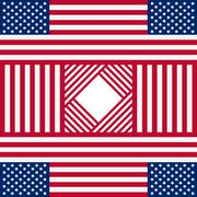 Patriotic USA background with american flags - stock illustration