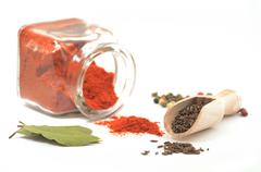 Red pepper, cumin, colorful pepper and bay leaves Stock Photos