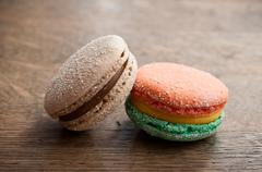 Duo of french macarons Stock Photos