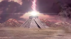 Mayan Pyramid Connecting to Another Planet Animation Stock Footage