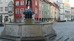 Apollo Fountain in Old Market in Poznan, Poland - stock footage