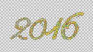 Stock Video Footage of 2016 Happy New Year made from colorful particles Alpha PNG
