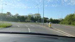 Driving through roundabout in Somerset, UK. Stock Footage
