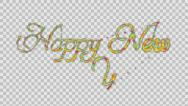 Stock Video Footage of Happy New Year made from colorful particles Alpha PNG