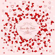 Wedding banner over scattered red and pink hearts - stock illustration