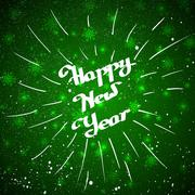 Hand-written Happy New Year with beam over green background - stock illustration
