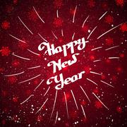 Hand-written Happy New Year with beam over red background - stock illustration