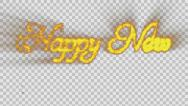 Stock Video Footage of Happy New Year made from orange particles Alpha PNG