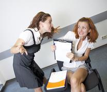 Anger teacher and afraid student Stock Photos