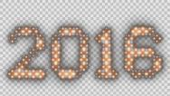 Stock Video Footage of New Year 2016 text, animated lights, Alpha PNG