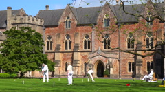 Seniors play croquet on the grounds of an elaborate mansion in Great Britain. - stock footage