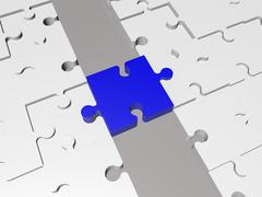 Concept with Puzzle pieces in in blue on grey - stock illustration