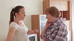 Mother and adult daughter after quarrel Stock Footage