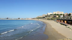 View of  Tarragona and Mediterranean beach Stock Footage