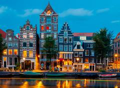 Stock Photo of Amsterdam's canals at night