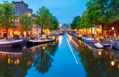 Amsterdam's canals at night - stock photo