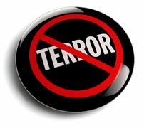 Anti Terror Campaign Badge on White - stock illustration