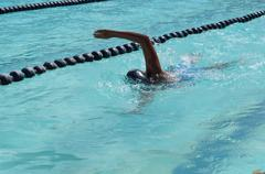 Stock Photo of Girl athlete training for freestyle swimming