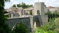 View of medieval bridge in Besalu Stock Footage