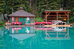 The Boat House at Emerald Lake in Yoho National Park Stock Photos