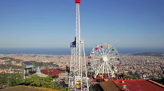 Amusement Park  at Tibidabo  in Barcelona, Spain Stock Footage