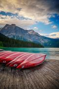 Canoes at Emerald Lake in Yoho National Park Stock Photos