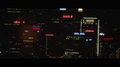 City night lights of coporate buildings shinning in the city - stock footage