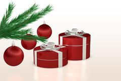Christmas gift, red balls and fir branch Stock Illustration