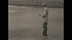 Vintage 16mm film, 1938, Illinois, Reed lake folks fishing - stock footage