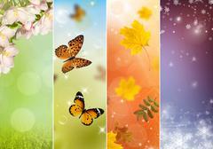 Collage of four seasons - stock illustration