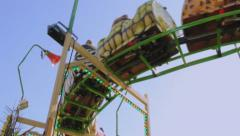 Stock Video Footage of Rollercoaster Ride in Summer
