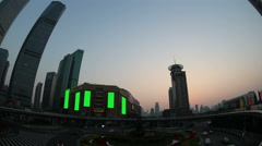 Time-lapse of shanghai at sunset with green screen elements Stock Footage