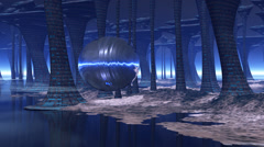 Stock Video Footage of 3D animation hovering sphere in surreal science fiction forest