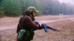 Military training in shooting, shooting at targets on the move Stock Footage